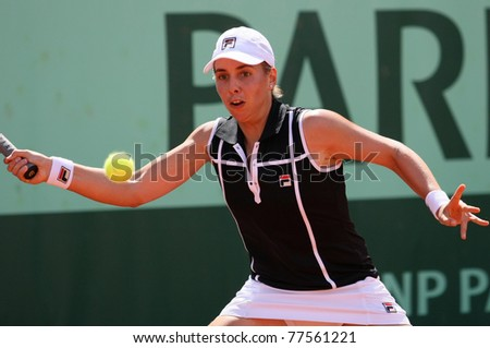 PARIS - MAY 19: Marina Erakovic of New Zealand plays the 2nd round qualification match at French Open, Roland Garros on May 19, 2011 in Paris, France. - stock photo