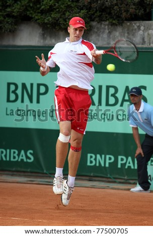 PARIS - MAY 18: Nikola Ciric of Serbia plays the 2nd round qualification match  at French Open, Roland Garros on May 18, 2011 in Paris, France. - stock photo