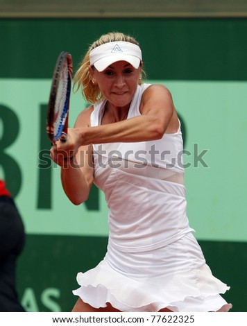 PARIS - MAY 20: Olga Govortsova of Belarus plays the 3rd round qualification match at French Open, Roland Garros on May 20, 2011 in Paris, France. - stock photo