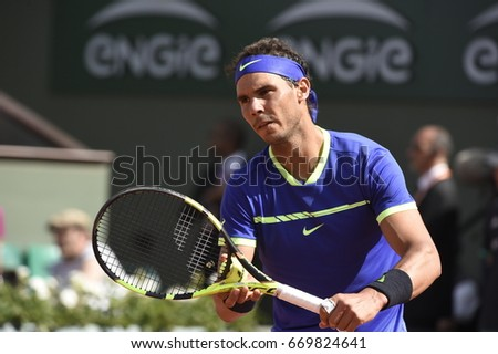PARIS - MAY 31:  Rafael Nadal (ESP) competes against Robin Haase (NED) in round 2 at The French Open on May 31, 2017 in Paris, France.