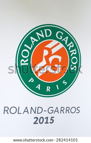 PARIS - MAY 24, 2015: Roland Garros Logo at the French Open Grand Slam tournament in Paris, France. - stock photo