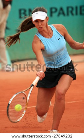 PARIS - MAY 21: Russian professional tennis player ANASTASIA PIVOVAROVA during her match at French Open, Roland Garros on May 21, 2008 in Paris, France. - stock photo