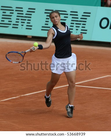 PARIS - MAY 22: Sara ERRANI of Italy plays the exhibition match at French Open, Roland Garros on May 22, 2010 in Paris, France. - stock photo