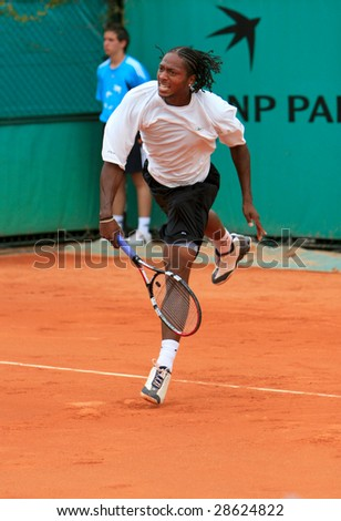 PARIS - MAY 23: Scoville Jenkins of USA during the match at French Open, Roland Garros on May 23, 2008 in Paris, France. - stock photo