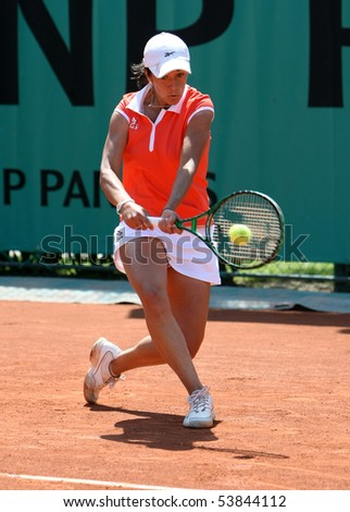 PARIS - MAY 20: Silvia SOLER ESPINOSA of Spain plays the 2nd round qualification match at French Open, Roland Garros on May 20, 2010 in Paris, France. - stock photo