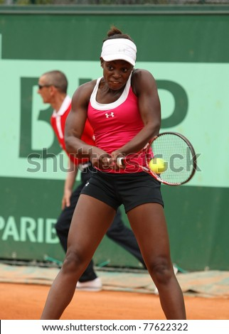 PARIS - MAY 20: Sloane Stephens of USA plays the 3rd round qualification match at French Open, Roland Garros on May 20, 2011 in Paris, France. - stock photo