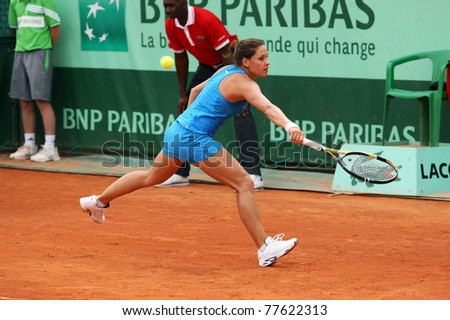 PARIS - MAY 20: Stephanie Dubois of Canada plays the 2nd round qualification match at French Open, Roland Garros on May 20, 2011 in Paris, France. - stock photo