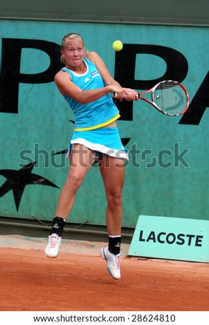 PARIS - MAY 21: Sweden's Johanna Larsson during the match at Roland Garros, French Open tennis tournament on May 21, 2008 in Paris, France - stock photo