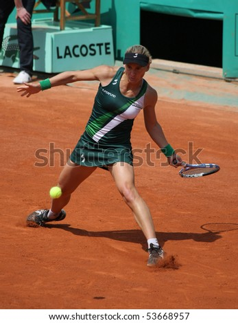 PARIS - MAY 22: Sybille BAMMER of Austria plays the exhibition match at French Open, Roland Garros on May 22, 2010 in Paris, France. - stock photo