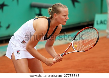 PARIS - MAY 26: Top Hungarian professional tennis player Agnes Szavay during her match at French Open, Roland Garros on May 26, 2008 in Paris, France. - stock photo