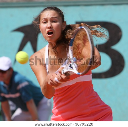 PARIS - MAY 20: Vitalia Diatchenko of Russia during her match at French Open, Roland Garros on May 20, 2009 in Paris, France. - stock photo