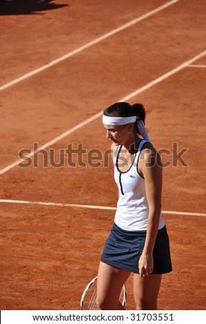 PARIS - MAY 29: Yaroslava Shvedova of Kazakhstan during the match at French Open, Roland Garros on may 29, 2009 in Paris, France.