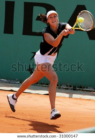 PARIS - MAY 20: YAROSLAVA SHVEDOVA of Kazakhstan in action at French Open, Roland Garros on May 20, 2009 in Paris, France. - stock photo