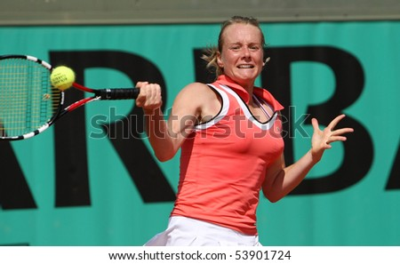 PARIS - MAY 20: Zuzana KUCOVA of Slovakia in action during the 2nd round qualification match at French Open, Roland Garros on May 20, 2010 in Paris, France. - stock photo