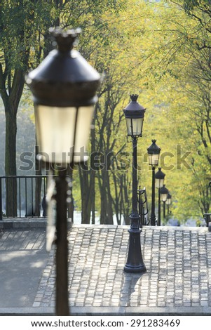 Paris Montmartre Lantern and Staircase - stock photo