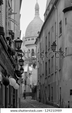Paris Montmatre view in black and white - stock photo