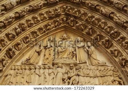 PARIS -Norte Dame Cathedral is on of Paris's most visited tourist attractions, France. - stock photo