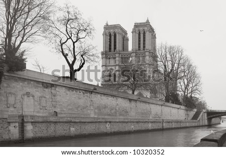 Paris,Notre-Dame,Seine,January2008 - stock photo
