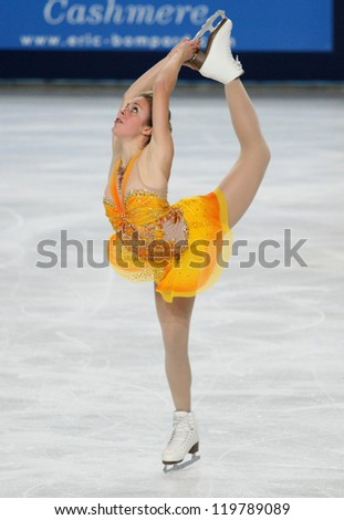 PARIS - NOVEMBER 17: Ashley WAGNER of USA performs during the ladies' free skating event at ISU Grand Prix Eric Bompard Trophy on November 17, 2012 at Palais-Omnisports de Bercy, Paris, France. - stock photo