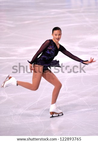 PARIS - NOVEMBER 16: Christina GAO of USA performs at ladies short program event at Eric Bompard Trophy on November 16, 2012 at Palais-Omnisports de Bercy, Paris, France. - stock photo