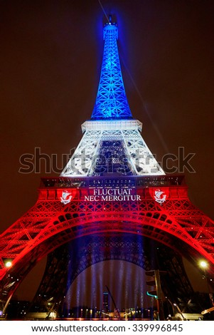 PARIS - NOVEMBER 16: Eiffel tower illuminated with colors of the French national flag on the day of mourning on November 16, 2015 in Paris - stock photo