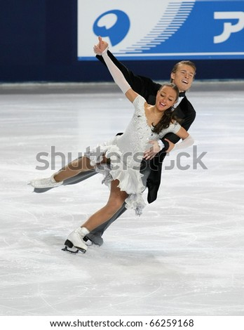 PARIS - NOVEMBER 26: Ekaterina RIAZANOVA and Ilia TKACHENKO of Russia perform short dance at the ISU Grand Prix Eric Bompard Trophy on November 26, 2010 at Palais-Omnisports de Bercy, Paris, France.