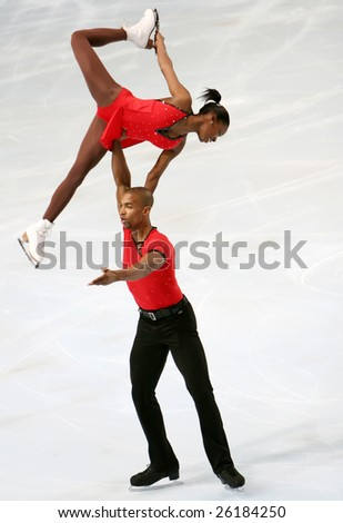 PARIS - NOVEMBER 14: France's Vanessa JAMES and Yannick BONHEUR during the pairs short program event of the Eric Bompard trophy in Palais-Omisports de Bercy on November 14, 2008 in Paris, France
