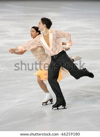 PARIS - NOVEMBER 26: Isabella CANNUSCIO / Ian LORELLO of USA perform short dance at the ISU Grand Prix Eric Bompard Trophy on November 26, 2010 at Palais-Omnisports de Bercy, Paris, France.