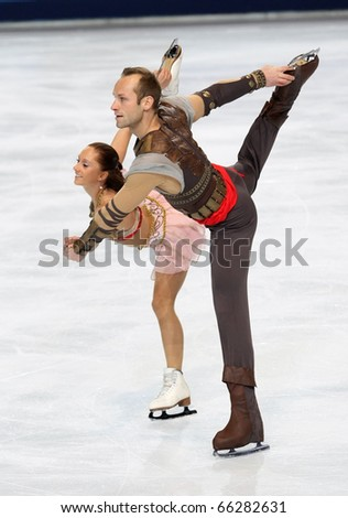 PARIS - NOVEMBER 27: Maylin HAUSCH and Daniel WENDE of Germany perform during pairs free skating event at Eric Bompard Trophy on November 27, 2010 at Palais-Omnisports de Bercy, Paris, France.