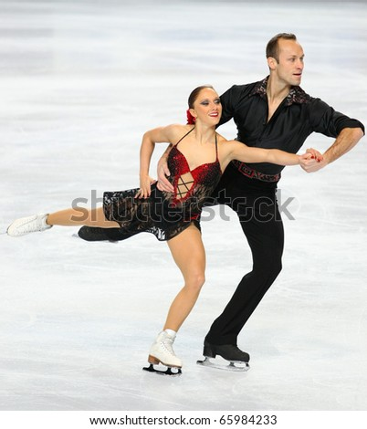 PARIS - NOVEMBER 26: Maylin HAUSCH and Daniel WENDE of Germany perform during pairs short skating event at Eric Bompard Trophy on November 26, 2010 at Palais-Omnisports de Bercy, Paris, France. - stock photo