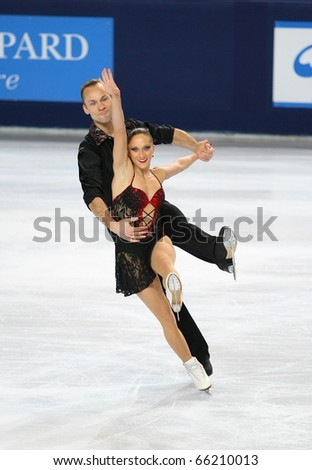 PARIS - NOVEMBER 26: Maylin HAUSCH and Daniel WENDE of Germany perform during pairs short skating event at Eric Bompard Trophy on November 26, 2010 at Palais-Omnisports de Bercy, Paris, France.