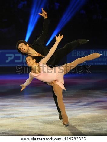 PARIS - NOVEMBER 18: Meagan DUHAMEL / Eric RADFORD of Canada perform at the ISU Grand Prix Eric Bompard Trophy Gala on November 18, 2012 at Palais-Omnisports de Bercy, Paris, France. - stock photo