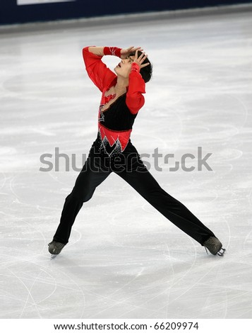 PARIS - NOVEMBER 26: Nan SONG of China performs at men's short skating event at Eric Bompard Trophy on November 26, 2010 at Palais-Omnisports de Bercy, Paris, France.