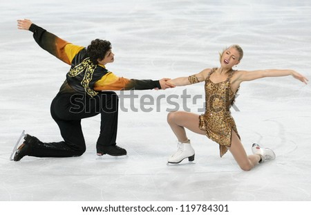 PARIS - NOVEMBER 17: Piper GILLES / Paul POIRIER of Canada perform free dance at the ISU Grand Prix Eric Bompard Trophy on November 17, 2012 at Palais-Omnisports de Bercy, Paris, France.