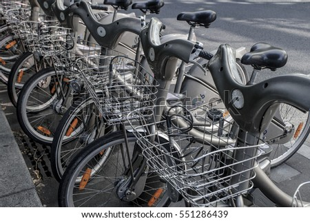 PARIS - OCTOBER 4, 2016:  Bicycle sharing station in Paris, France. With 20,600 bicycles, Paris sharing system is largest in Europe.