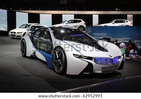 PARIS - OCTOBER 11: BMW Vision EfficientDynamics - an electric hybrid roadster at the Paris Motor Show 2010 at Porte de Versailles, on October 11, 2010 in Paris, France - stock photo