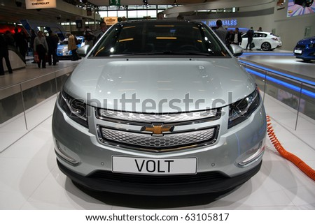 PARIS - OCTOBER 14: Chevrolet Volt front view at the Paris Motor Show 2010 at Porte de Versailles, on October 14, 2010 in Paris, France - stock photo