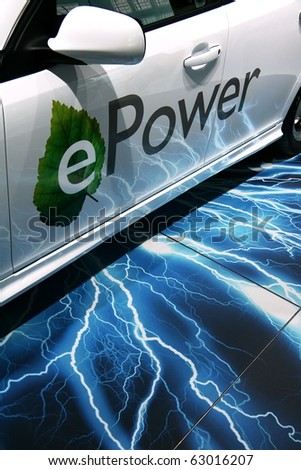 PARIS - OCTOBER 14: Closeup of the Saab 9-3 ePower automobile - the first electric vehicle from Saab at the Paris Motor Show 2010 at Porte de Versailles, on October 14, 2010 in Paris, France - stock photo