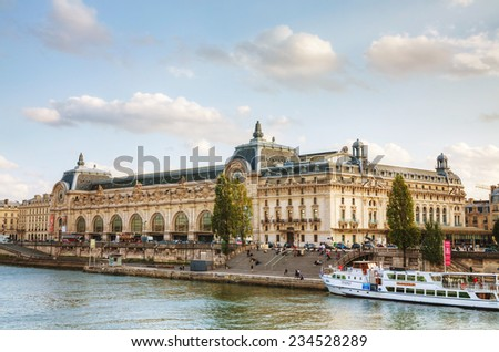 PARIS - OCTOBER 9: D'Orsay museum on October 9, 2014 in Paris, France. The Musee d'Orsay is the French art  museum in Paris, on the left bank of the Seine. - stock photo
