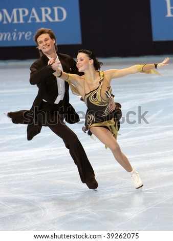 PARIS - OCTOBER 16: Ekaterina RUBLEVA and Ivan SHEFER of Russia perform compulsory dance at Eric Bompard Trophy October at Palais-Omnisports de Bercy October 16, 2009 in Paris, France. - stock photo