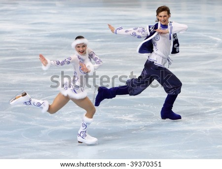PARIS - OCTOBER 16: Ekaterina RUBLEVA and Ivan SHEFER of Russia perform original dance at Eric Bompard Trophy October 16, 2009 at Palais-Omnisports de Bercy, Paris, France.