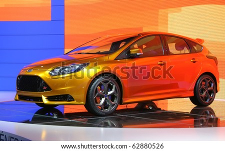 PARIS - OCTOBER 11: Ford Focus ST Concept is displayed at the Ford Next Generation volt at the Paris Motor Show 2010 at Porte de Versailles, on October 11, 2010 in Paris, France