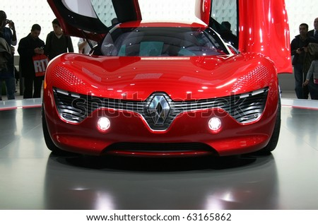 PARIS - OCTOBER 14: Front view of the Renault DeZir electric speedster at the Paris Motor Show 2010 at Porte de Versailles, on October 14, 2010 in Paris, France - stock photo