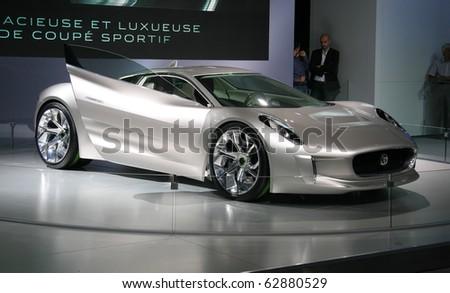 PARIS - OCTOBER 11: Jaguar C-X75 Concept - an electric hybrid roadster at the Paris Motor Show 2010 at Porte de Versailles, on October 11, 2010 in Paris, France - stock photo
