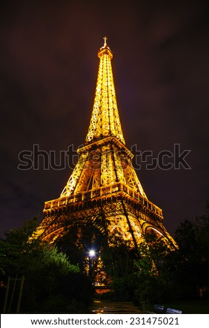 PARIS - OCTOBER 9: Paris cityscape with Eiffel tower on October 9, 2014 in Paris, France. It's an iron lattice tower located on the Champ de Mars and  was named after the engineer Gustave Eiffel.