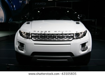 PARIS - OCTOBER 14: Range Rover Evoque front view at the Paris Motor Show 2010 at Porte de Versailles, on October 14, 2010 in Paris, France - stock photo