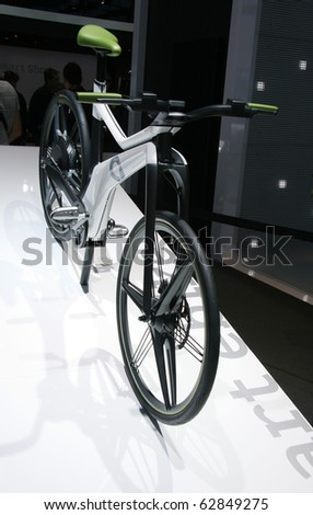 PARIS - OCTOBER 11: Smart E-Bike Concept electrically assisted hybrid bicycle at the Paris Motor Show 2010 at Porte de Versailles, on October 11, 2010 in Paris, France - stock photo