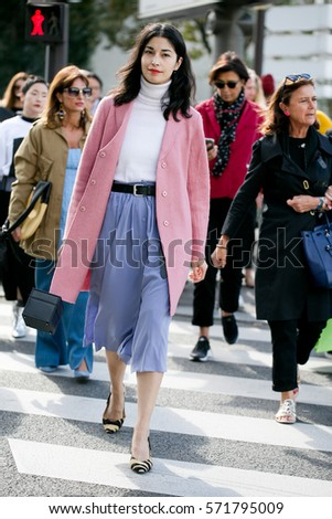 "PARIS-OCTOBER 2, 2016. ""TANK"" magazine founder Caroline Issa is going to a fashion show. Paris fashion week. Ready to wear."