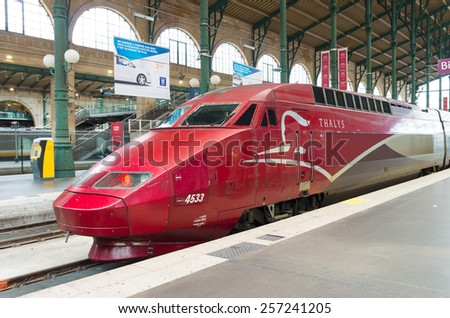 PARIS - OCTOBER 12, 2014: Thalys high speed train at Gare du Nord in Paris - stock photo