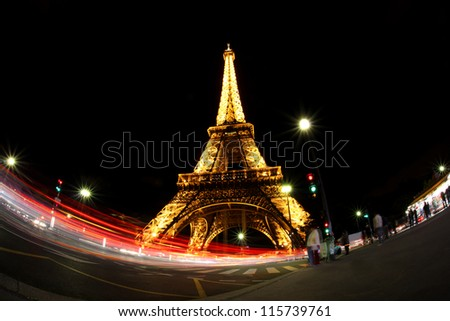 PARIS - OCTOBER 12:The Eiffel Tower from below upwards in the evening on October 12, 2012 in Paris, France.The Eiffel Tower lit by more than 350 lamps mounted within the structure of the tower itself.
